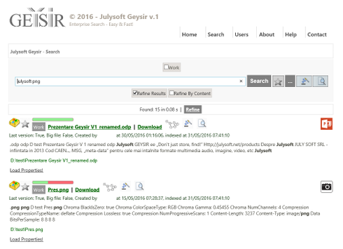 July Soft Geysir Suite: Geysir Enterprise Search, Geysir Free and