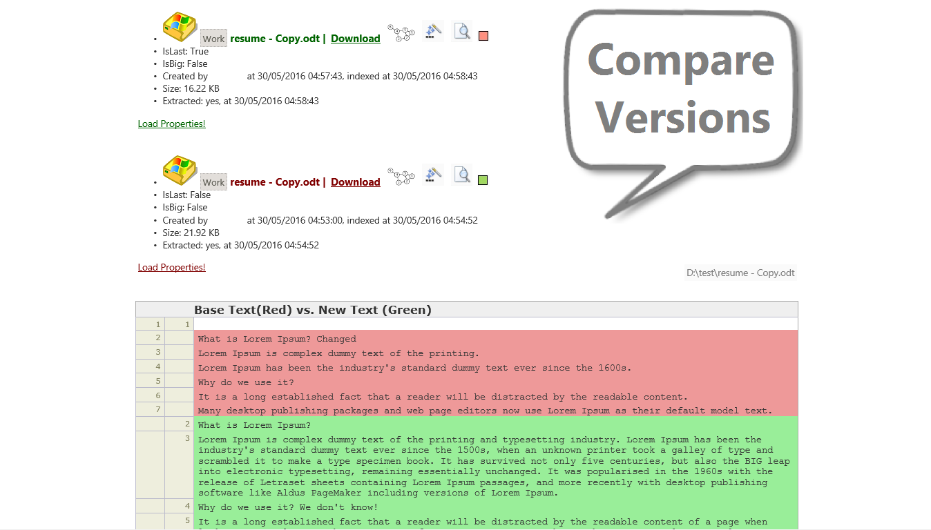 Julysoft Geysir Search - Versioning - Text Compare
